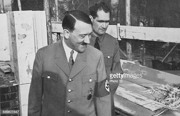 Adolf Hitler and Rudolf Hess visiting the building site of Hitler's house in Munich Weimar Republic