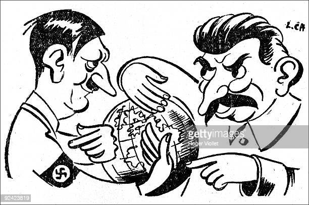 Adolf Hitler and Stalin sharing the world Caricature from 'La Bataille politique et littéraire' on April 30 1947