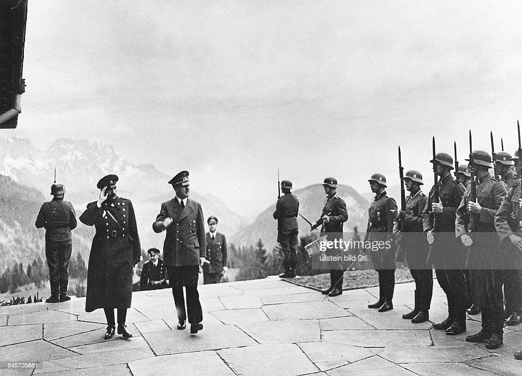 Germany, Third Reich: Hitler and Tsar Boris III of Bulgaria meeting at the 'Berghof' near Berchtesgaden : News Photo
