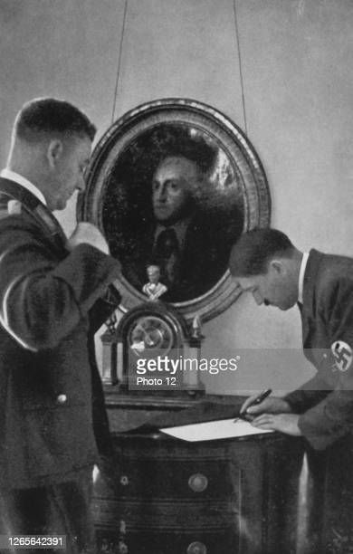 Adolf Hitler and Viktor Lutze, his chief of staff of the SA., at the Reich Chancellery. 1935.