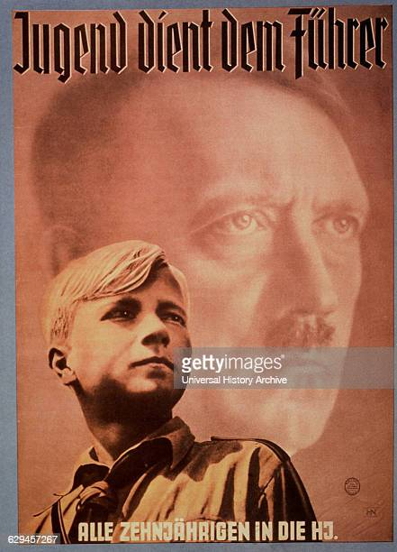 Adolf Hitler and Young Boy Nazi Youth Poster Youth Serves the Fuhrer Germany 1939