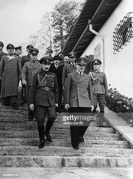 Adolf Hitler and Zar Boris III of Bulgaria descending the stairs in front of Hitler's mountain lodge in the Obersalzberg near Berchtesgaden following...