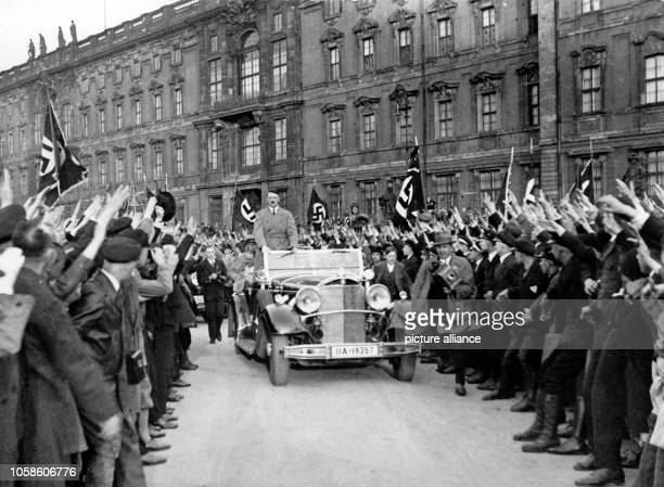 Adolf Hitler arrives to a mass assembly of National Socialists at the Lustgarten in Berlin Germany date unknown Photo Berliner Verlag / Archive