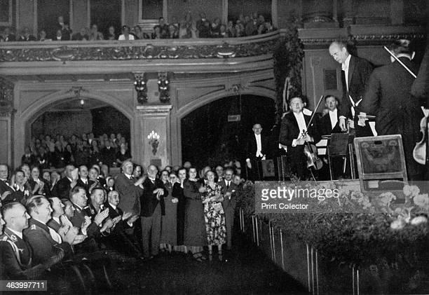 Adolf Hitler attending a concert Berlin Germany 1936 Hitler and other senior Nazis including Hermann Goering and Joseph Goebbels at a concert...