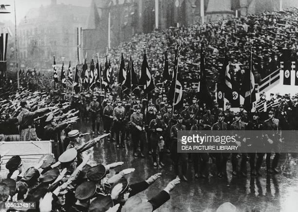 Adolf Hitler attending a SA parade in Berlin Germany, 20th century.
