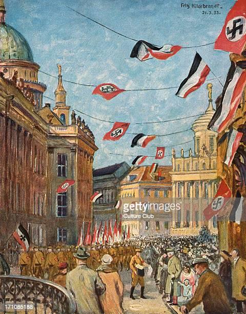 """Adolf Hitler - """"Der Tag von Potsdam"""" , painting by Fritz Hildebrandt. End of Hitler 's speech on 23 March 1933. Swastika flags. Crowd cheering. Adolf..."""