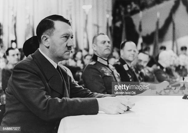 Adolf Hitler during the rally in the Berlin Sports Palace on the right Field Marshal Wilhelm Keitel chief of the High Command of the Wehrmacht and...