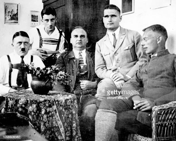 Adolf Hitler Emil Maurice First Lieutenant Hermann Kriebel Rudolf Hess and Friedrich Weber are pictured during their imprisonment in the fortress...