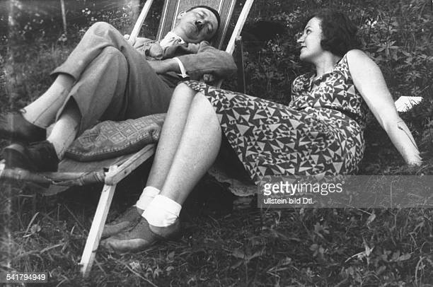 Adolf Hitler German Nazi politician in a deck chair next to is niece Angela Raubal around 1930