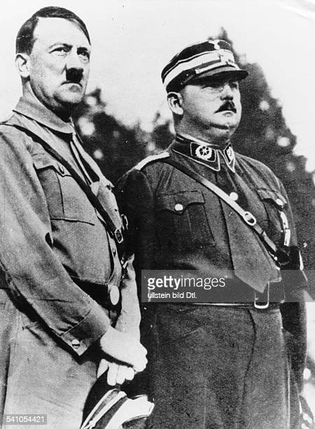 Adolf Hitler German Nazi politician with SA Chief of Staff Ernst Röhm during an event