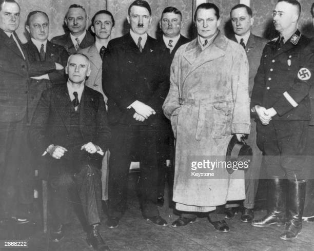 Adolf Hitler German political and government leader and dictator with his ministers at The Hotel Kaiserhof Berlin headquarters of the National...