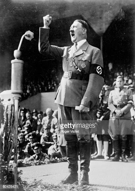 Adolf Hitler German statesman making a speech