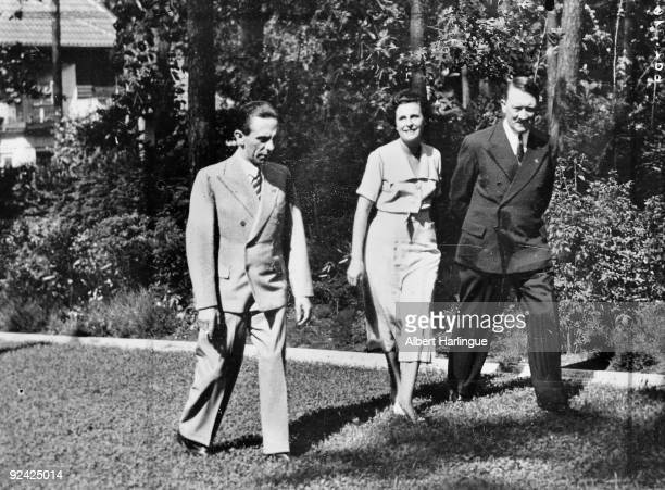 Adolf Hitler German statesman with Leni Riefenstahl German actress and director and Joseph Paul Goebbels