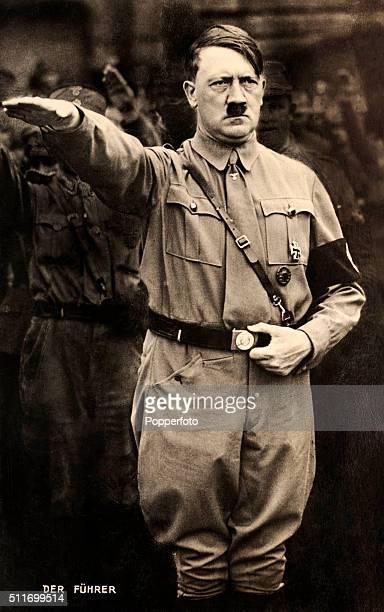 Adolf Hitler giving the Nazi salute circa 1935