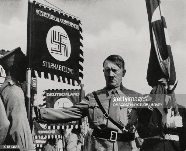 Adolf Hitler in Nuremberg during the Rally of Greater Germany , Germany, from L'Illustrazione Italiana, Year LXV, No 38, September 18, 1938.