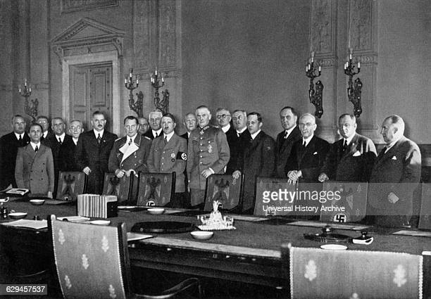 Adolf Hitler in Uniform with the Reich's Cabinet Announcing Law on Conscription Berlin Germany 1935
