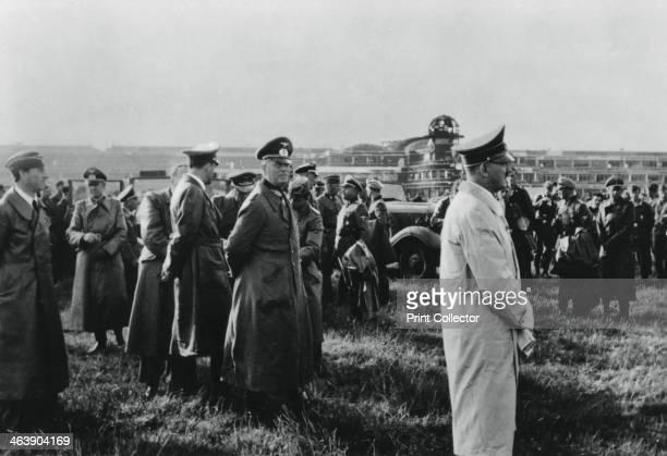 Adolf Hitler inspecting the captured Le Bourget airfield, Paris, France, 23 June 1940. Hitler's senior general, Wilhelm Keitel, stands behind him.