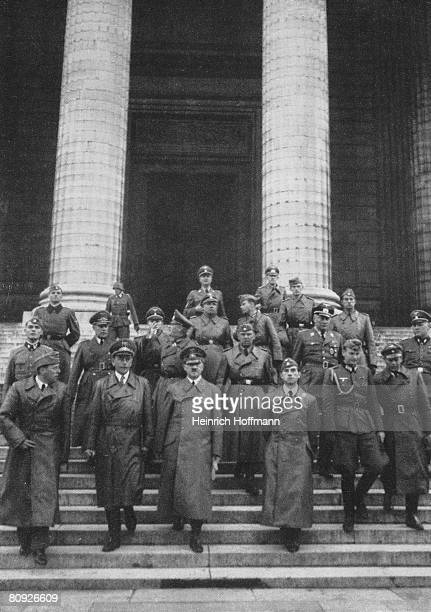Adolf Hitler leaves L'Eglise de la Madeleine in Paris in the company of German architects Albert Speer and Hermann Giesler and sculptor Arno Breker...