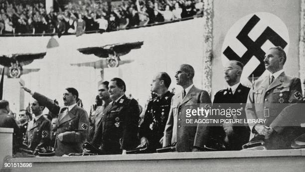Adolf Hitler making a speech threatening Czechoslovakia with war September 26 Berlin Germany from L'Illustrazione Italiana Year LXV No 40 October 2...