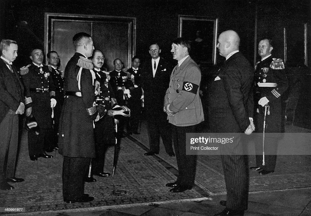 Adolf Hitler meeting a Japanese naval delegation, 1934. : News Photo