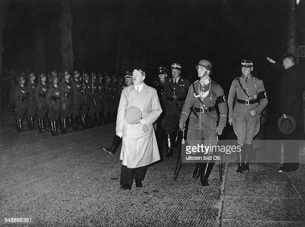 Adolf Hitler on his way to a meeting of SA leaders at the Reichs Ministry for Information and Propaganda in Berlin Hitler with SAStabschef Viktor...