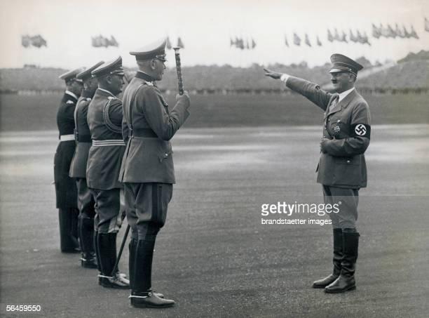 Adolf Hitler on the Reichsparteitag on the occasion of the Tag der Wehrmacht Hitler greets the commander of the Wehrmacht Fieldmarshal Werner von...