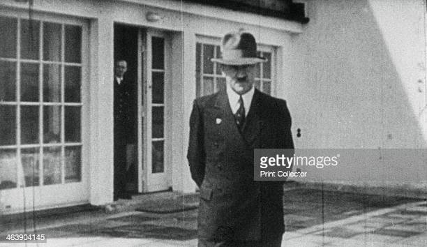 Adolf Hitler on the terrace of the Berghof Berchtesgaden Bavaria Germany c19361945 Hitler acquired the Berghof his retreat in the Bavarian Alps in...