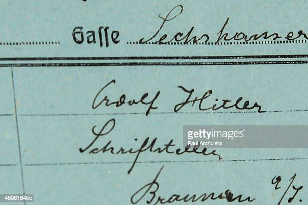 Adolf Hitler police document to be auctioned off by Nate D Sanders Auctions is seen on March 25 2014 in Los Angeles California