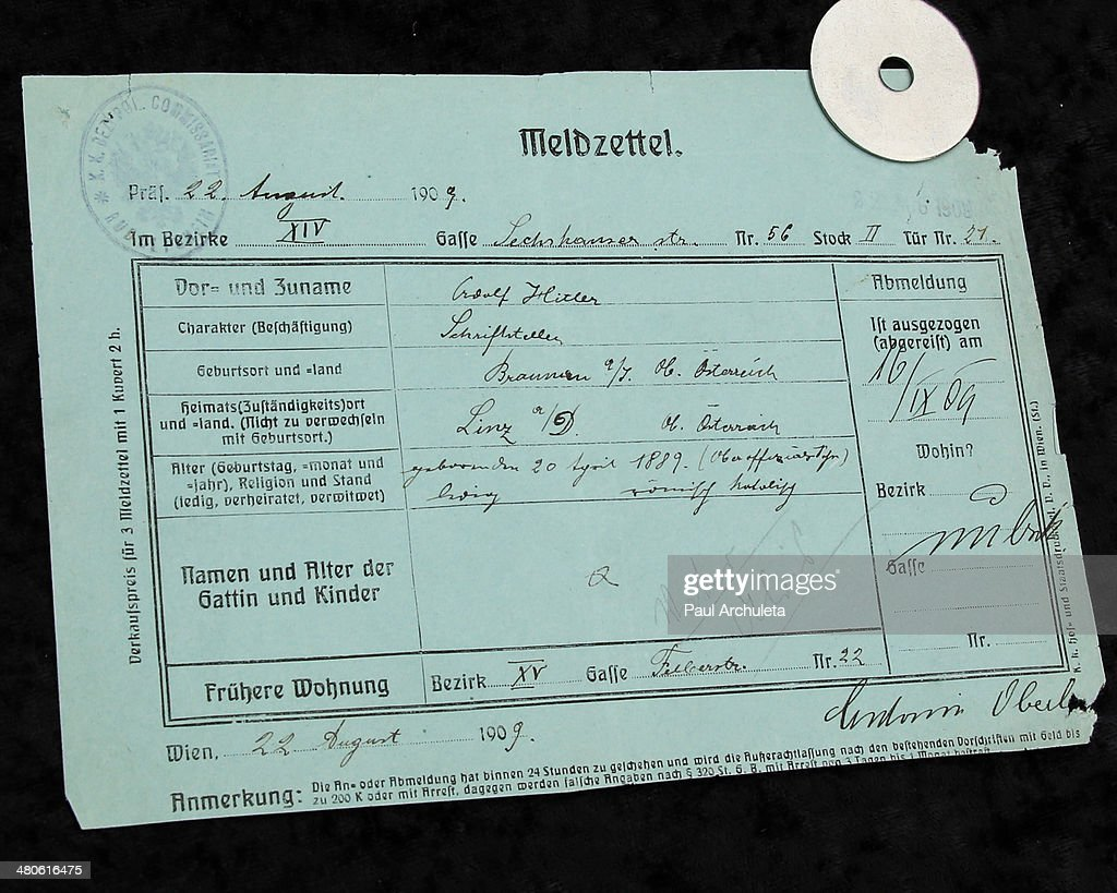 Adolf Hitler police document to be auctioned off by Nate D. Sanders Auctions is seen on March 25, 2014 in Los Angeles, California.