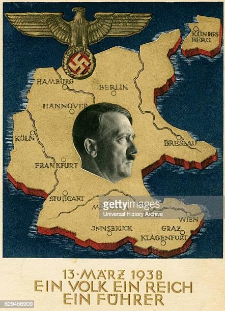 Adolf Hitler Portrait on Map of Germany and Unification with Austria 'Ein Volk Ein Reich Ein Fuhrer' Postcard 1938