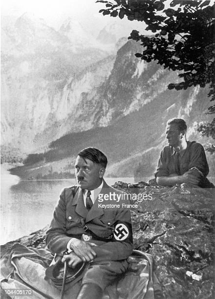 Adolf HITLER posing on the banks of a lake near his chalet at Berchtesgaden in the Bavarian Alps in the 1930's
