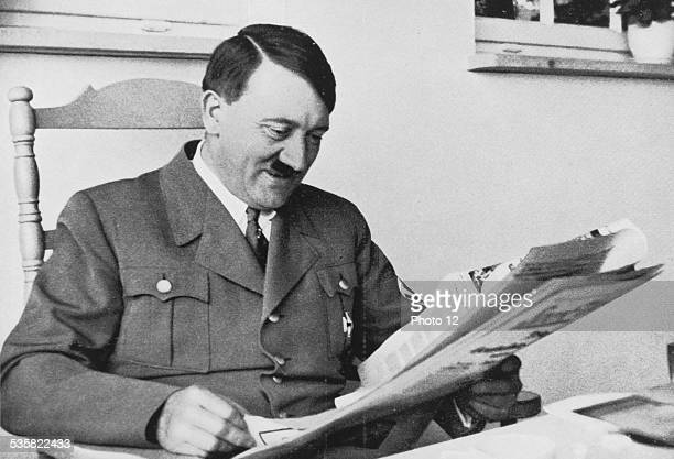 Adolf Hitler reading the press during a stay in Bavaria in his country house at Obersalzberg Weimar Republic
