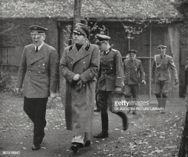 Adolf Hitler receiving Galeazzo Ciano at the German General Headquarters October 25 Poland World War II from L'Illustrazione Italiana Year LXVIII No...