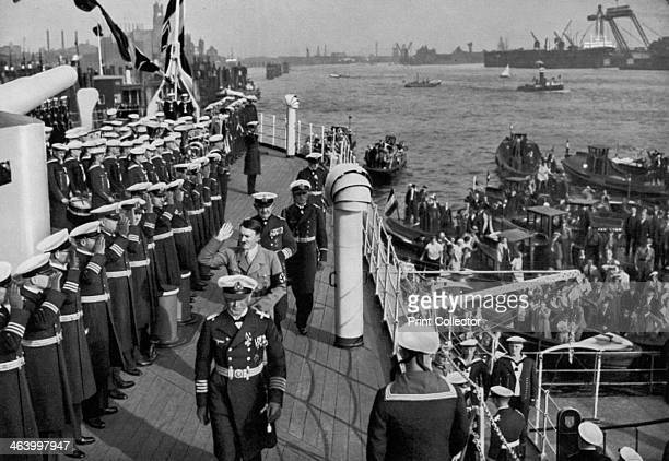 Adolf Hitler reviewing the battleship SMS 'SchleswigHolstein' Hamburg Germany 1936 Hitler acknowledging the salutes of the crew The...