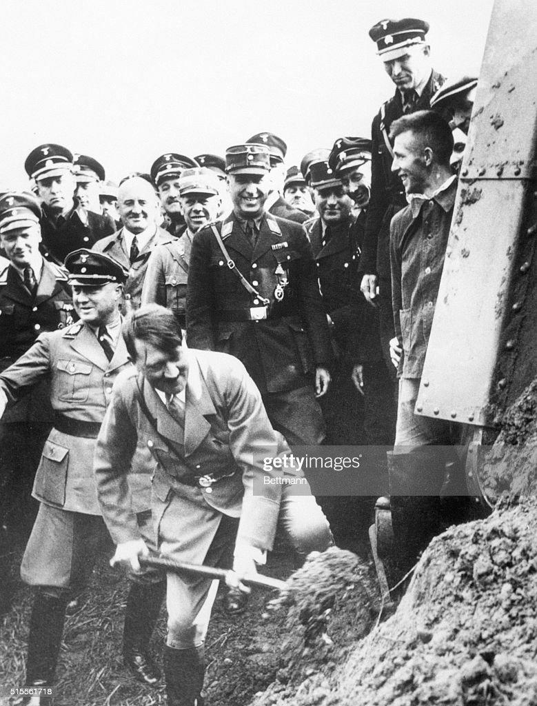 Adolf Hitler Breaking Ground on Autobahn : News Photo