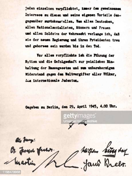 Adolf Hitler signed his last will and testament in the Berlin Fuhrerbunker on 29 April 1945 the day before he committed suicide with his wife Eva...