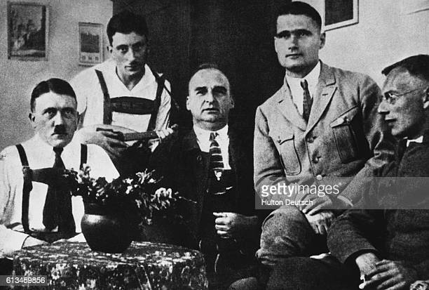 Adolf Hitler sits at a table with Maurice Kriebel Rudolph Hess and Max Weber in prison at Landsberg Am Lech in 1924 after the failed Munich Beer Hall...