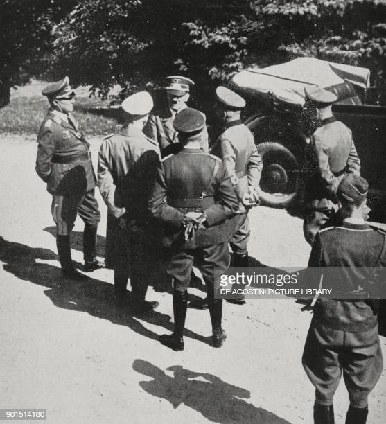 Adolf Hitler speaking with some senior officers near the front line Poland World War II from L'Illustrazione Italiana Year LXVI No 38 September 17...