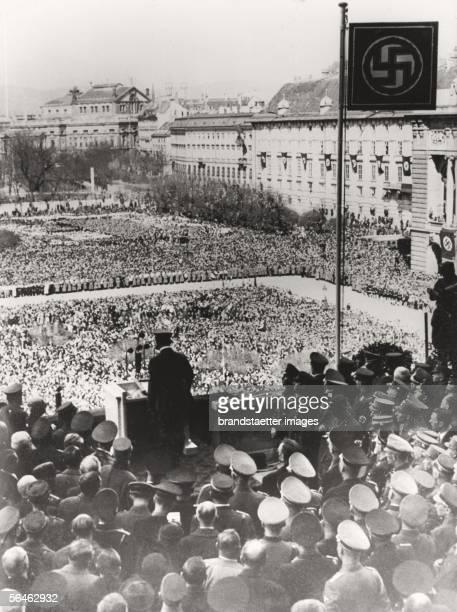 Adolf Hitler takes a speech on the Wiener Heldenplatz 15 Maerz 1938 Photograph by Albert Hilscher [Adolf Hitler spricht am Wiener Heldenplatz 15...