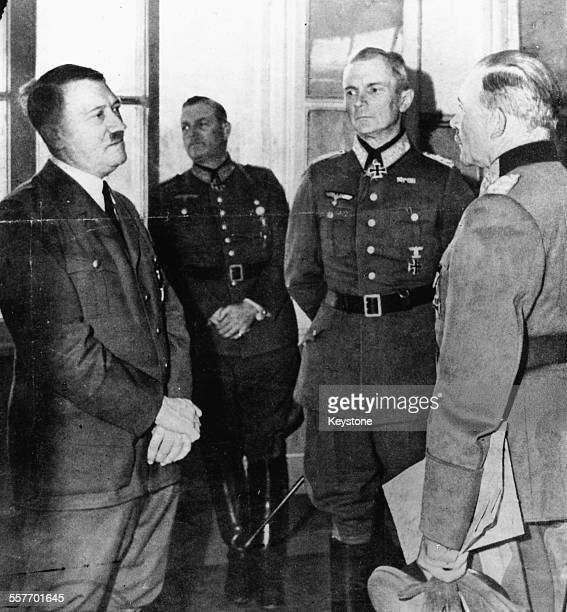 Adolf Hitler talking to General Guderian Field Marshal Vin Bock and Field Marshal Keitel prior to the German Crisis July 22nd 1944