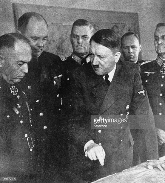 Adolf Hitler talking to the Romanian dictator Ion Antonescu