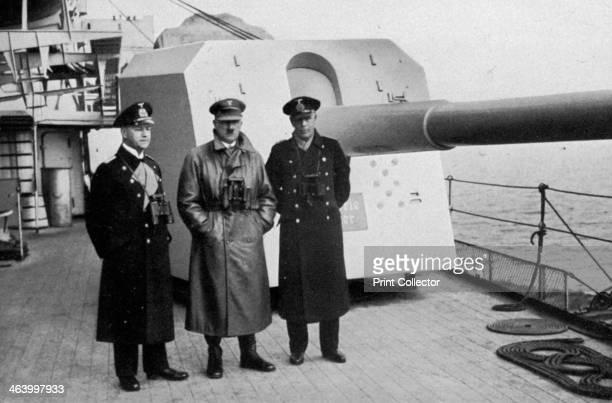 Adolf Hitler visiting a battleship Germany 1936 Hitler with the ship's senior officers A print from Adolf Hitler Bilder aus dem Leben des Führers...