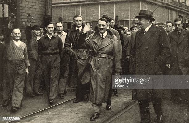 Adolf Hitler visiting a factory in RhinelandWestphalia Germany Weimar Republic