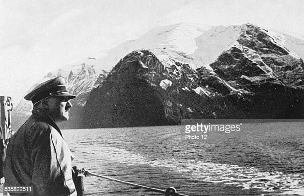 Adolf Hitler visitng the Norwegian fjords abord a war ship Weimar Republic