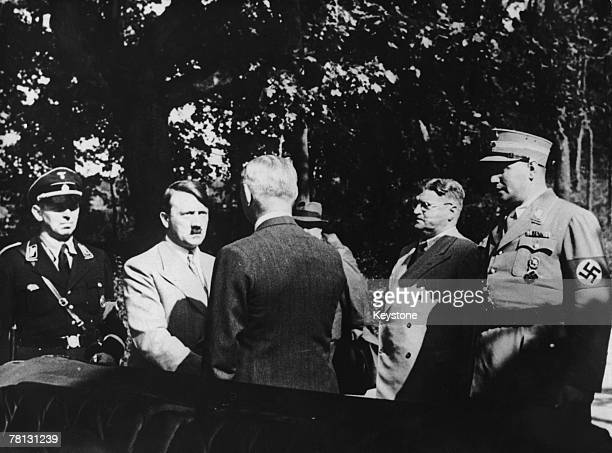 Adolf Hitler visits dying German President Paul von Hindenburg for the last time at Neudeck 2nd August 1934 Hindenburg died that day and Hitler...