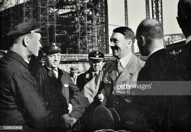 Adolf Hitler visits the Blohm Voss the shipbuilding and engineering works The company built aircraft through Hamburger Flugzeugbau before and during...
