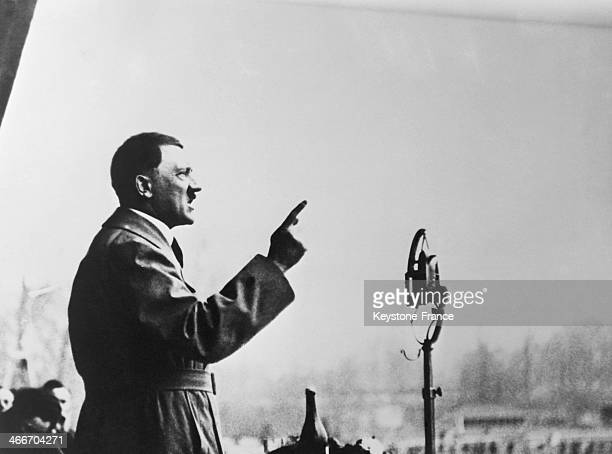 Adolf Hitler winner of the Prussian and Bavarian elections giving a speech in May 1928 in Germany