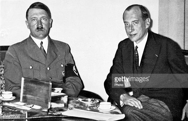Adolf Hitler with Polish minister of Foreign Affairs Colonel Joseph Beck Weimar Republic