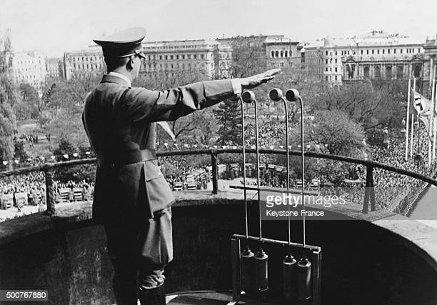 Adolf Hitler's address to Vienna people from the balcony of the Town Hall on March 15 1938 in Vienna Austria