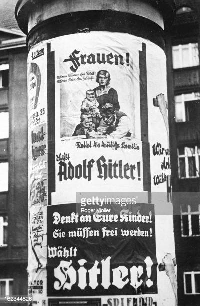 Adolf Hitler's campaign poster with the exhortation 'Women save the family vote for Hitler' 'Think about your children They have to go free Vote for...